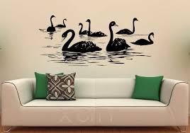 Swan Birds Wall Decal Lake Vinyl Stickers Flying Animal Home Design Image Permalink For Bedrooms Interior