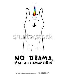 Simple Cute Smiling White Llama And Unicorn Hybrid Drawing Rainbow Magic Horn Hand Drawn