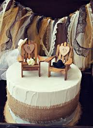 Western Country Rustic Wedding Cake Topper Fall Hat Boots Initials Custom Bride Groom Ivory Chairs Wood Adirondack Cowboy