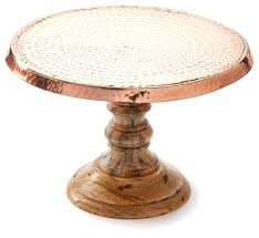 Wood Cake Stand Hammered Copper Rustic Dessert And Stands Natural