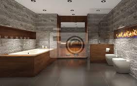 modernes badezimmer mit holz und stein badezimmer bilder myloview