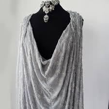 silver grey silk crepe georgette chiffon floral embroidered fabric