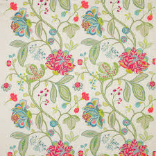 Jacobean Style Floral Curtains by Manuel Canovas Dana Jacobean Embroidered Linen Fabric 10 Yards