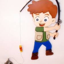 Little Boy Fishing Wood Sculpture Wall Hanging Art Home Decor