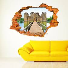 3D Wall Stickers Stereo Creative Broken Fashion Castle Decal Ceiling Living Room Bedroom Backdrop Decoration Blue Sky