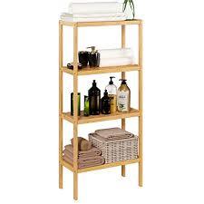 homfa bambus standregal bücherregal mit 4 ablagen 52 7x26x115cm