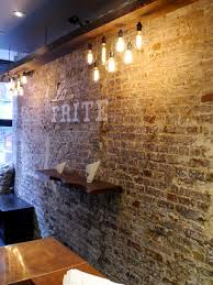 Wall Restaurant Interior Design Bricks Reclaimed Wood Lighting Faux Paint