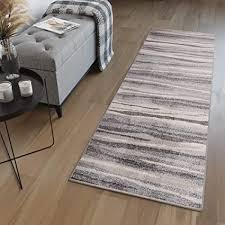 tapiso sari teppich läufer meterware wohnzimmer schlafzimmer küche flur brücke nach maß grau beige vintage streifen verwischt ökotex 120 x 100 cm