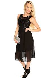 womens clothing party dresses black floral embroidered sleeveless