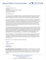 100 Maryland Motor Truck Association Letters Of Support