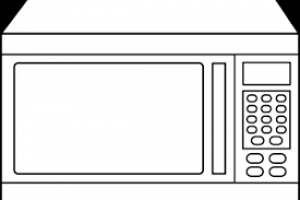 microwave clipart black and white