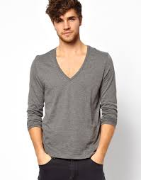 asos long sleeve tshirt with deep v neck in gray for men lyst