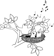 Bird Singing Clipart Black And White