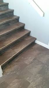 Tile Stair Nosing Trim by Luxury Vinyl Tile Installed With Custom Insert Stair Nosings