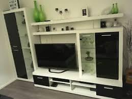 wohnwand can can 4 weiß schwarz glasfronten ebay