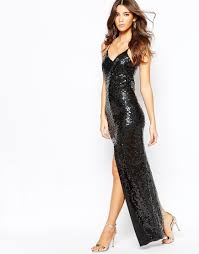 naanaa all over sequin dress with cross back in black lyst