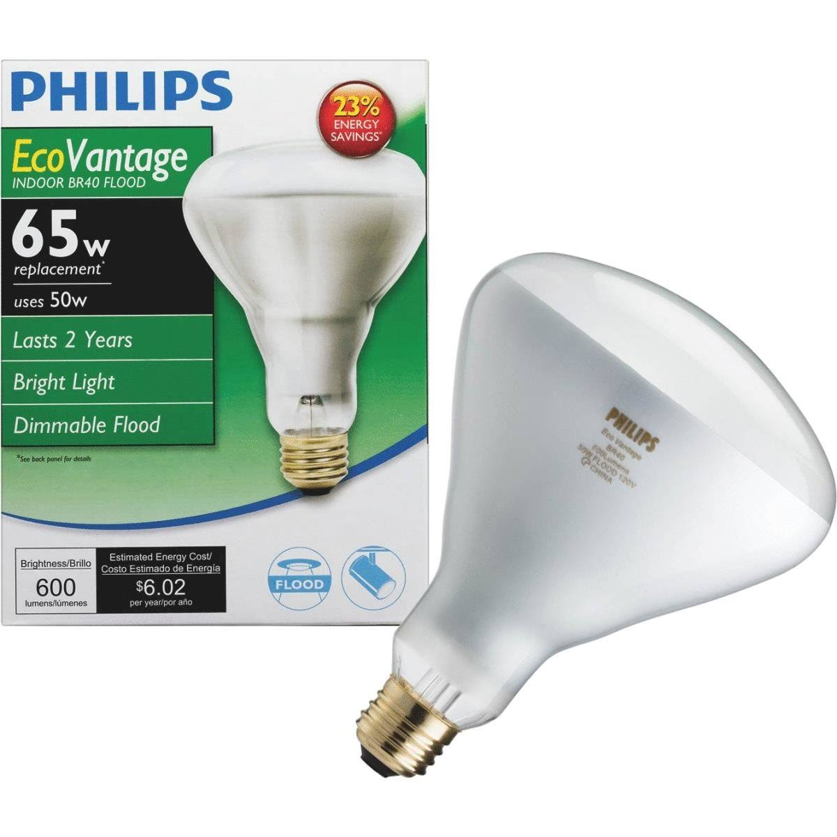 Philips EcoVantage Halogen BR40 Flood Light Bulb - 65W Equivalent