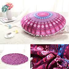Retro Mandala Floor Cushion Cover Round Bohemian Sofa Outdoor Throw Pillows Boho Style