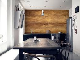 revetement mural cuisine decoration revêtement mural cuisine lattes bois armoires noires