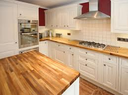 Fantastic Design Of The Wood Kitchen Countertops With Brown Wooden Color Added White Cabinets
