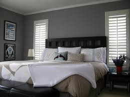 Bedroom Heavenly Image Of White And Gray Decoration Using Rectangular Black Wood Headboard Including Light Grey Wall Paint Blind