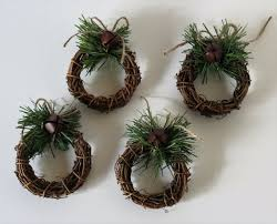 Rustic Wedding Napkin Rings Mini Grapevine Wreath Forest Pine Place Setting Reception