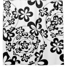 Black And White Flower Shower Curtain by Quirky Shower Curtains Zazzle