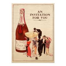 Vintage Champagne Cocktail Party Formal Fun Custom 5x7 Paper Invitation Card
