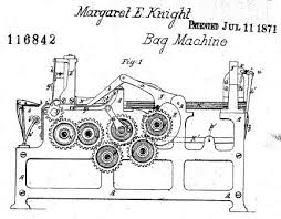 Margaret Knight Patent Diagram For Bag Machine