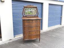 Tiger Oak Dresser With Swivel Mirror by Serpentine Dresser Ebay