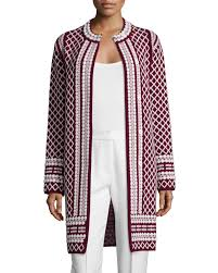 tory burch long jacquard sweater coat in red lyst
