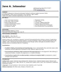 QA Software Tester Resume Sample Entry Level