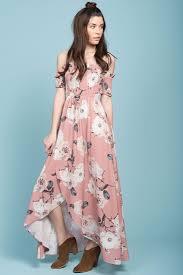 shop the londyn floral print ruffled sleeve maxi dress pink