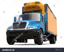 Blue And Yellow Refrigerator Truck - Low Angle Shot - 3D ...