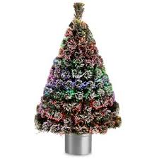 Fiber Optics 4 Green White Artificial Christmas Tree LED Multi Colored Lights With Base