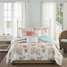 Coral Colored Bedding by Amazon Com Madison Park Pebble Beach 6 Piece Quilted Cotton