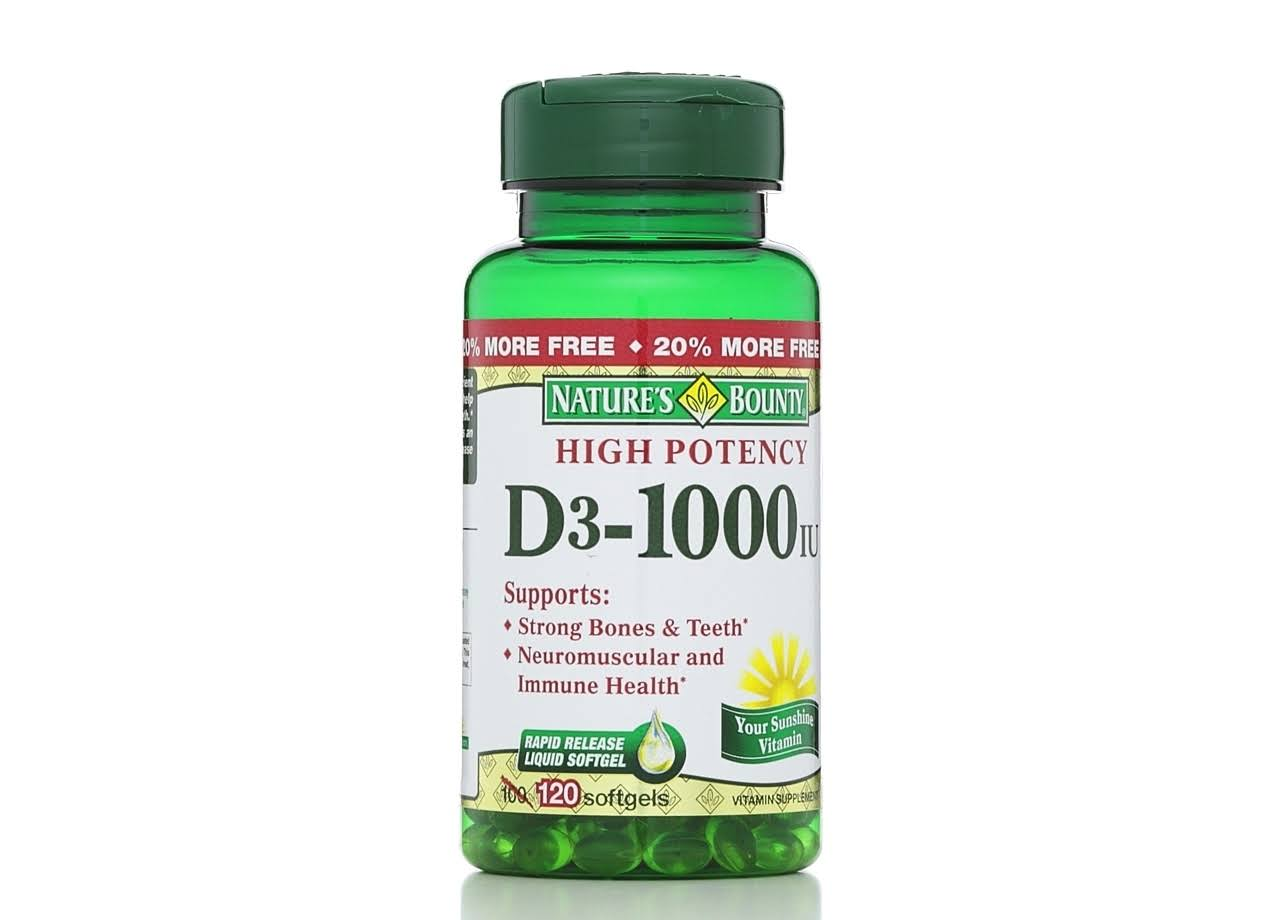 Nature's Bounty High Potency D3 1000 IU Rapid Release Liquid Vitamin Supplement Softgel - 120 Pack