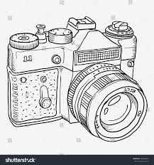 Graphics Doodle Outline Old Camera Isolated On White Background 349894529
