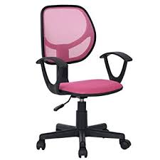 furniturer pink desk chair with wheels home computer