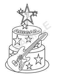 Personalized Printable Rockstar Cake Birthday Party Favor Childrens Kids Coloring Page Book Activity PDF Or JPEG