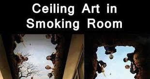 ceiling art in smoking room
