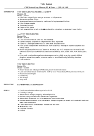 Download Tow Truck Driver Resume Sample As Image File