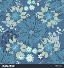 Spring And Summer Vintage Floral Background In Red Blue Black Colors Beautiful Vector