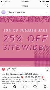 ColourPop End Of Summer Sale: 25% Sitewide W/exclusions ... Colourpop Cosmetics On Twitter Black Friday Sale Starting Borrow Lens Coupon 2018 Goibo Bus Coupons 25 Off Colourpop Code 2017 Coupon 1 Promo Code 20 Something W Affiliate Discount 449 Best Codes Coupons Images In 2019 The Detox Market Canada Coupon November Up To 40 Rainbow Makeup Collection Discount 80s Tees Free Shipping Play Asia For Woc Juvias Place 45 Sale Romwe June Dax Deals 2 15 Off Make Up Products Spree Sephora Canada Promo Code Mygift Restocked 51 Free