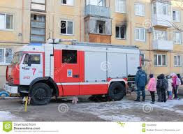 Fire Truck In The Yard Of The House Editorial Stock Image - Image Of ...