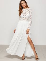 white eyelet embroidered lace electric pleated dress embroidered