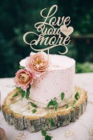 Wedding Cake Topper Love You More Wood Silver Gold