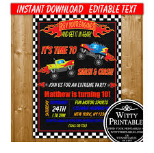 Monster Truck Party Invitation Printable Digital Download Boy ... Birthday Monster Party Invitations Free Stephenanuno Hot Wheels Invitation Kjpaperiecom Baby Boy Pinterest Cstruction With Printable Truck Templates Monster Birthday Party Invitations Choice Image Beautiful Adornment Trucks Accsories And Boy Childs Set Of 10 Monster Jam Trucks Birthday Party Supplies Pack 8 Invitations