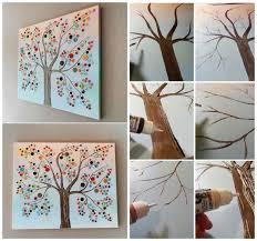 Tree Wall Decor Ideas by Button Tree Canvas Wall Art Diy Cozy Home