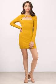 mustard dress bolo tie dress marigold dress bodycon